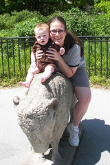 Mommy and Connor at the Zoo (dianaschnuth) Tags: mom diana connor zoo buffalo bison statue toledo toledozoo smilingwithteeth bisonstatue