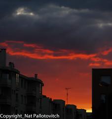 Brlure sur la ville (Nat Pallotovitch (Adonicia)) Tags: orange rouge gris soleil coucher nuage ville immeuble