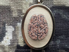 Human Brain Pendant, Hand-Embroidered. (MotherEagle) Tags: pink handmade jewelry brain jewellery human cotton anatomy etsy embroidered anatomical chainstitch handembroidery artistjewelry embroideredpendant mothereagle