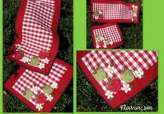TRILHO E PANO DE FOGÃO MAÇÃS (flavia_sm1963) Tags: flores patchwork cozinha maçã xadrez trilho