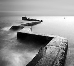 THE DRUNKEN PIER (kenny barker) Tags: sea bw seascape monochrome lumix scotland fife jetty stmonans panasoniclumixgf1 welcomeuk kennybarker