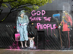 God Save... (mrdamcgowan) Tags: london graffiti corgi bloomsbury guardsman wc1 londonist queenelizabethii mbw davemcgowan mrbrainwash godsavethepeople