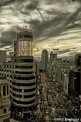 Gran Vía de Madrid (Pogdorica) Tags: madrid atardecer capitol schweppes callao granvia cinecapitol cruzadaplatinum goldcruzadasi