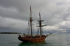 Sailing ship heading out to sea (MsScorpio52) Tags: ocean winter sea grey boat wooden sailing ship afternoon cloudy timber australia calm passengers sail dull portarlington abcopen:project=winter