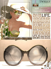 [LeeZu!] Twiggy Glasses (Mesh) (Vixie Rayna) Tags: summer sunglasses glasses design mesh secondlife leezubaxter leezu texturechange