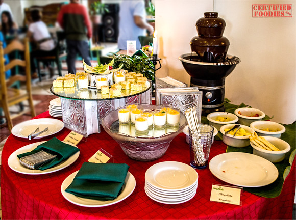 Desserts table at Mario's Sunday Buffet