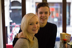 Me and my Fella (The_Kevster) Tags: leica light boy portrait people london love girl smile restaurant couple shadows bokeh soho teenagers rangefinder summicron50mm leicam9