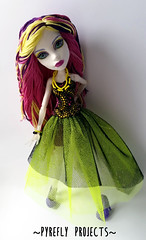 Spectra - Ghostly Neon (Pyrefly Projects) Tags: thread monster high doll neon embroidery ghost projects spectra custom reroot rehair restyled pyrefly vondergeist kizrianah