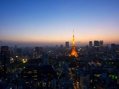 Nightfall (Ted Tsang) Tags: longexposure sunset tower japan skyline night landscape tokyo twilight cityscape nightscape worldtradecenter olympus   tokyotower  lighttrails  magichour minato observationdeck  em1   bluehours     1240mmf28
