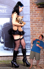 35 in - gas mask bear (iggy62pop2) Tags: giantess shrinkingman sexy boots pantyhose legs tallwoman upskirt minigiantess