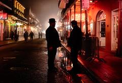 bourbon fog (JimfromCanada) Tags: street mist reflection men wet silhouette fog night wow dark chat quiet neworleans talk suit frenchquarter mysterious bourbon brilliant