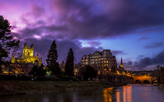 Purple skies river night view of Bath (Daz Smith) Tags: city uk sunset people urban streets reflection water abbey clouds canon river bath do skies purple candid citylife thecity streetphotography to avon weir pulteneybridge canon6d dazsmith bathstreetphotography