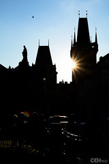Silhouette Bridge Towers Charles Bridge