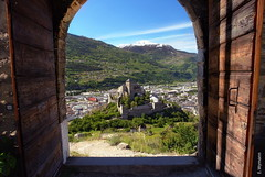 Sion (welenna) Tags: alpen alps switzerland spring schwitzerland sky swiss sion sity stadt schloss castle basiliquedevalre door tr berge blue wallis mountains mountain