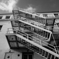 Venice Beach Silhouettes (johnmartin25) Tags: venicebeach hotel blackandwhite stairs stairway fireescape