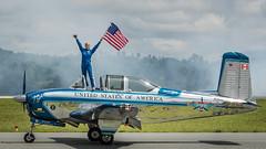 Flag Waving Time (4myrrh1) Tags: canon airplane virginia airport flag aircraft aviation airplanes airshow lynchburg american va waving memorialday 2016 t34 julieclark ef100400l 7dii