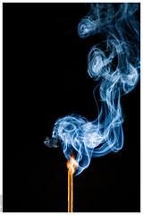 A Just Lit Match (Mika Latokartano) Tags: blue blackbackground smoke flame match matchstick litmatch smokewhirls
