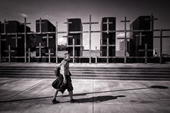 The Man and His Shadow . (kitchou1 Thanx 4 UR Visits Coms+Faves.) Tags: street shadow monochrome architecture friend cross belgium lige