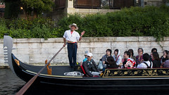 Cheerful Gondola Chauffeur (hanz11hanz) Tags: park disneysea people water japan river pose relax fun happy tokyo boat sightseeing decoration disney fantasy gondola themepark props
