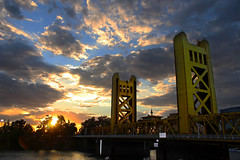 Tower Bridge Sunset (bb8ller) Tags: california old bridge cats tower clouds river pyramid baseball cloudy sac crab flare seals shack sacramento joes otters rivercats