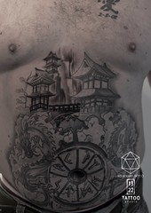Freehand Japanese and Rune Tattoo ( Dragons not by me) (13.22 Tattoo Studio) Tags: road park black west london art tattoo studio landscape japanese grey 22 cool ruins soft artist north fine stomach line professional clean queens portobello freehand piece custom popular 13 kilburn rune silverback realistic shading tattooist brondesbury stylised nw6 ladbroke sourgrapes sourgrapestattoo 02074610433