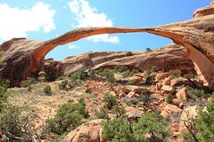 Landscape Arch in Arches National Park, Utah (lhboudreau) Tags: park rock utah sandstone rocks arch arches collapse thin archesnationalpark formations lifecycle imminent landscapearch fallenslabs