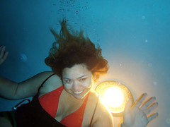 Waving Vegas Goodbye... Underwater! (TheJudge310) Tags: woman usa girl smile hair long underwater candy lasvegas nevada bubbles latina