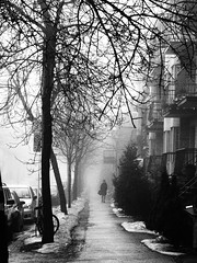 Through the Fog (explored) (croquembouche76) Tags: city bw girl fog flickr day explore brume flickrexplore ciu explored