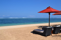 St Regis beach (Simon_sees) Tags: travel red sea vacation bali sun holiday beach umbrella indonesia relax hotel sand resort tropical stregis sunlounge starwood