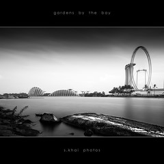 Relic and Present (s.khai) Tags: city bridge sunset sea bw white black beach monochrome gardens by skyline sunrise river mono bay singapore long exposure cross angle sony wide monotone f1 pit east benjamin alpha a200 tamron suntec bnw kallang tanjong rhu sheares 1650 nd110