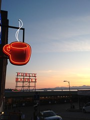 beautiful evening in Seattle (shwn.david) Tags: seattle sunset favorite mobile landscape pikeplace iphoneography