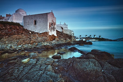 Mykonos at Dusk (Greg Weeks Photography) Tags: sunset sky cloud house church horizontal architecture outdoors greek photography big long exposure nopeople alternativeenergy greece filter mykonos density windpower stopper neutral renewableenergy paraportiani panagia colorimage environmentalconservation traditionalwindmill fuelandpowergeneration builtstructure