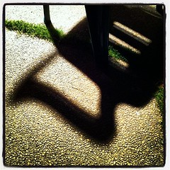shadow of the green plastic chair (thermophle) Tags: square lofi squareformat iphoneography instagramapp uploaded:by=instagram