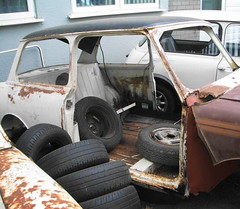 Rusty Mini (maisonburke) Tags: cars rust rusty vehicles rusted scrap tyres wrecks