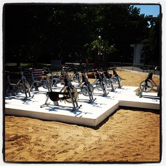 9+1 spinning bikes on city Beach in Bratislava (Vicktor_picshare) Tags: travel summer vacation castle history beach sports bike sport bikes visit spinning slovakia bratislava
