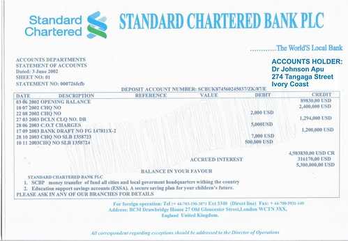 Bank Statement Standard Chartered Standard Chartered Statement