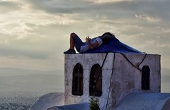 The sky is my limit - Explored (Nick in Greece) Tags: city windows sky church girl clouds chapel cables resting overlooking pentaxkx imittos hymettus
