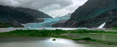 Mendenhall Lake & Waterfall (Lus Henrique Boucault) Tags: travel blue sea vacation usa sunlight mountain snow cold color ice gelo n
