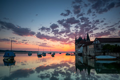 Turmhof - Steckborn (Tobias Knoch) Tags: blue sunset red sun lake reflection sunrise canon germany deutschland eos se schweiz switzerland purple mark awesome iii ships extreme lilac 09 5d glowing tobias bodensee hitech constance albrecht thurgau ramstein knoch reichenau steckborn turmhof