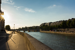 Sunset along the Seine (Nils Croes) Tags: sunset shadow sky sun paris france water seine clouds canon river shadows romance 1740 60d