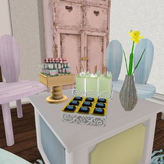 Easter 2014 | Kitty Table closeup (Hidden Gems in Second Life (Interior Designer)) Tags: party art fall home cakes apple loft easter design spring junk gallery tea sweet interior treats free funky next what chic decor floorplan dreamscapes the shabby freebies hunts
