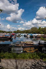 Zulu Warrior (Francis Mansell) Tags: sky cloud london water marina river boat outdoor houseboat vehicle narrowboat towpath leavalley riverlea springfieldmarina springfieldpark