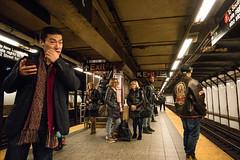 Waiting for a Train (UrbanphotoZ) Tags: nyc newyorkcity ny newyork men scarf subway women waiting manhattan indian broadway passengers smartphone upperwestside coats motorcyclejacket 72street 71street