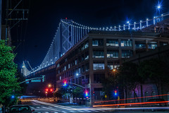 spear street final stop (pbo31) Tags: sanfrancisco california city bridge black color night dark spring nikon traffic may baybridge 80 2016 lightstream spearstreet rinconhill boury pbo31 d810