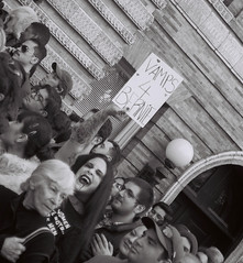 """Vamps 4 Bernie"" at the Bernie Sanders rally with 27,000 people (DoubleBen) Tags: park leica city nyc blackandwhite newyork film brooklyn 35mm kodak tmax rally crowd gothic goth iso 400 washingtonsquare bernie asa af vampires greenpoint vamp c1 afc1 berniesanders feelthebern"