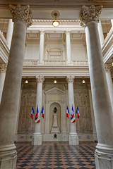 Interior, Avignon Town Hall, France (Foto Blitz Color) Tags: france vertical europe flag nopeople indoors townhall avignon neoclassical frenchflag colorimage provencealpescotedazur frenchculture placedelhorlage hoteldevilledavignon avignoncityhall