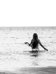 La belle et la bte (L'oeil argent) Tags: princessinthesea argentiquesimilary thebeautiful labelle project blurry water louise noirblanc bw sea girl symbiose pure nude nu analog mer child