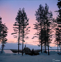 A Finnish aircraft lies covered on a cold winter morning, December 11, 1943, near the river Svir. (Jared Enos) Tags: world winter snow cold history plane sunrise finland outdoors dawn war aircraft aviation wwii ii colorized finnish colorization aunuksenkannassyv