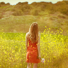 82/365 (Paige.Nelson) Tags: flowers portrait orange field yellow self dress 365 365days 365project