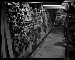 Interior Shot of Gasket Board for Repairing Motor Coaches at 24th and Utah Garage, 1955- X3577 (SFMTA Photo Archive) Tags: sanfrancisco ca shop publictransit interior parts garage indoor machinery muni repair transportation puc publicutilities sfmta moxom